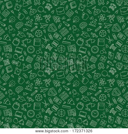 Pattern of welcome back to school with modern thin line icons school supplies on green background. Back To School Background. Back to school super shopping. Super sale. Vector illustration.