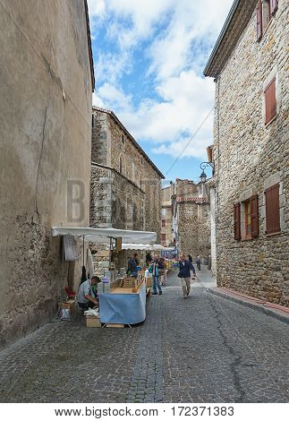 Les Vans, France, September 17, 2015: Image of the market in the streets of Les Vans in the Ardeche region of France