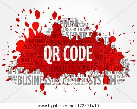 QR code word cloud collage, technology business concept background