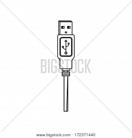 monochrome contour with with usb plug vector illustration