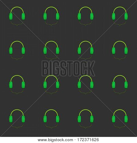 Headphones seamless pattern on a gray background