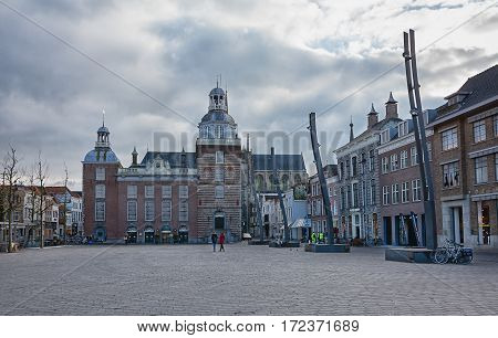 Goes, Netherlands, February 5, 2015: impression of the town square with town hall of the Zeeland town of Goes in the Netherlands.