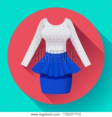 Fashionable womens clothing dress with Baska blue skirt and lacy blouse.