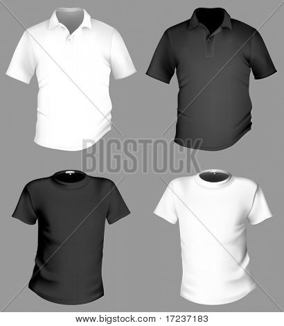 Vector. Men's black and white t-shirt and polo shirt template.