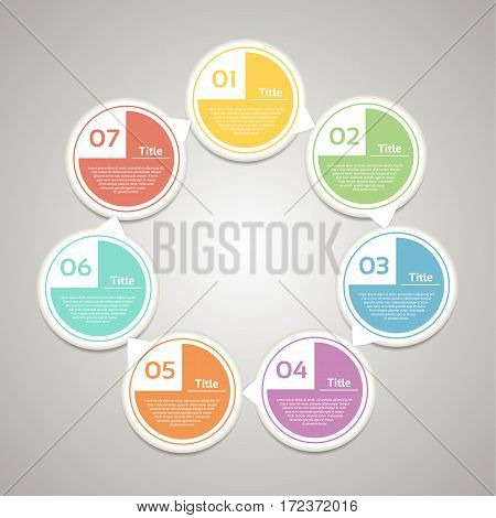 Vector circle infographic. Template for diagram graph presentation and chart. Business concept with 7 cyclic options parts steps or processes. Abstract background.