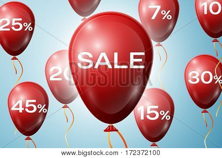 Red Balloons with an inscription Big Sale. SALE concept for shops store market, web and other commerce. Vector illustration.
