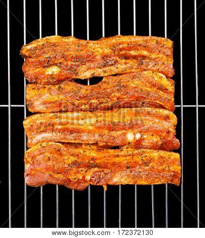 Marinated Belly Slices On Barbecue Grid