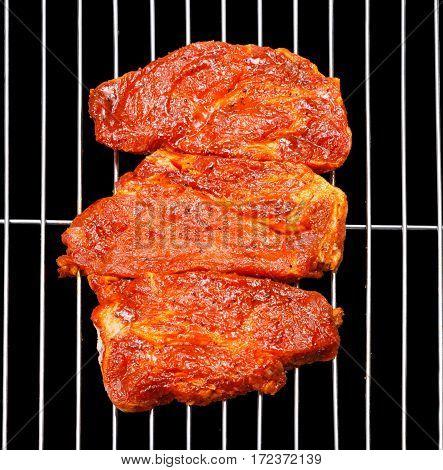 Marinated Pork Blade Roast On Barbecue Grid