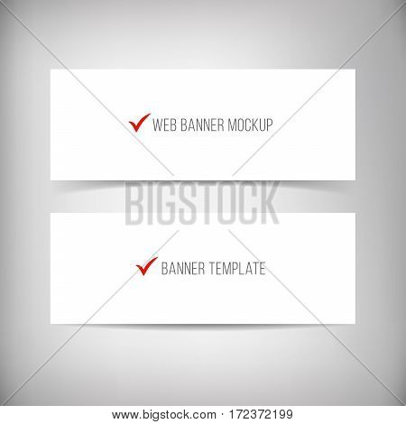 Banners with different shadows isolated on dark grey background. Empty vector banner set. Website header or footer. Realistic material paper strip mockup. Vector illustration. Web banner template.