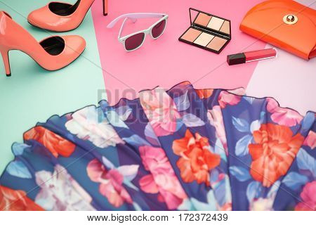 Fashion Design Spring girl Clothes Set, Accessories, Cosmetic. Outfit.Trendy sunglasses, floral Dress fashion handbag clutch.Glamor shoes heels, spring flower. Summer lady Essentials. Creative urban.