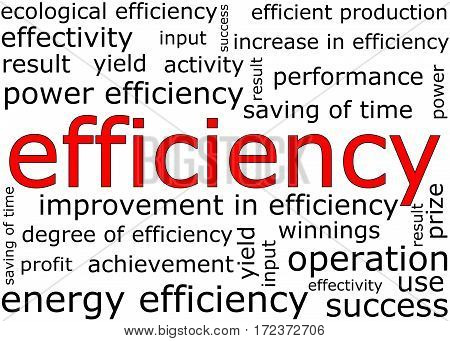 Efficiency wordcloud on white background - illustration
