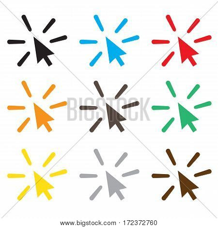set click icon on white background. click sign.