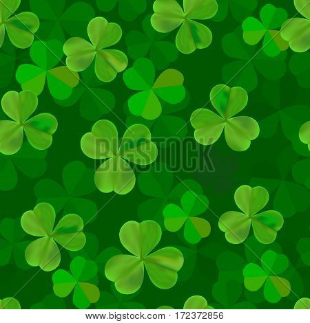 Clover seamless pattern vector illustration. St Patrick's Day symbol, Irish lucky shamrock background.
