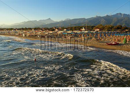 Versilia Coast View On The Sunset