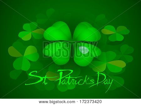 St. Patrick's Day party poster vector background with a happy four-leaf clover.