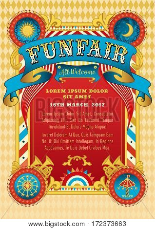 Funfair vector template. Circus tent. Retro poster invite kids. Birthday party invitation. Amusement park ferris wheel carousel. Carnival festival cabaret. Funfair background vintage ribbon.
