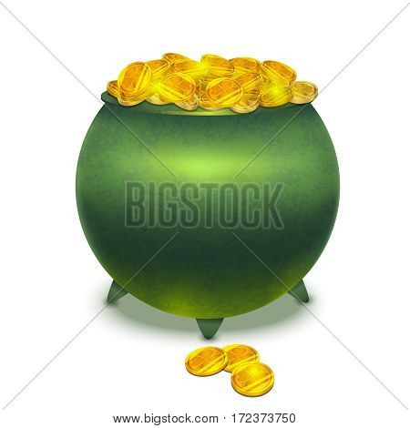 vector realistic isolated pot with gold coins
