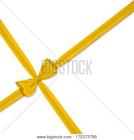 vector yellow isolated realistic bow on white background