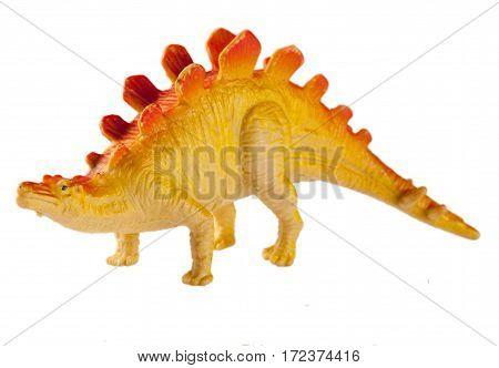 plastic dinosaur toy isolated on white background.