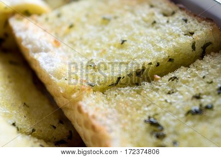 Close Up Sliced Homemeade Garlic Bread  With Nobody