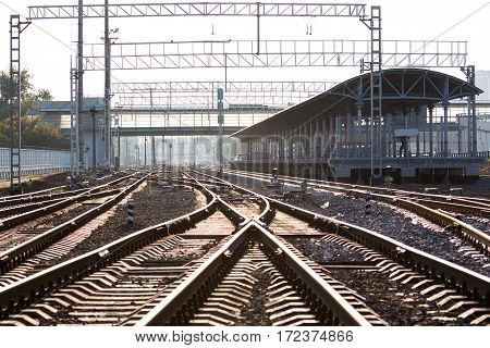 Close up of the railway junction in Moscow
