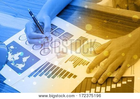 Business Statistics Success Concept : Businessman Analytics  Marketing Chart And Graph