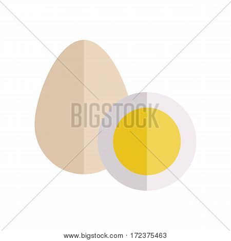 Eggs vector Illustration. Flat design. Farm product concept. Two eggs of poultry fresh and boiled, isolated on white. Illustration for for culinary recipes, cafe menu, packaging prints, icons.