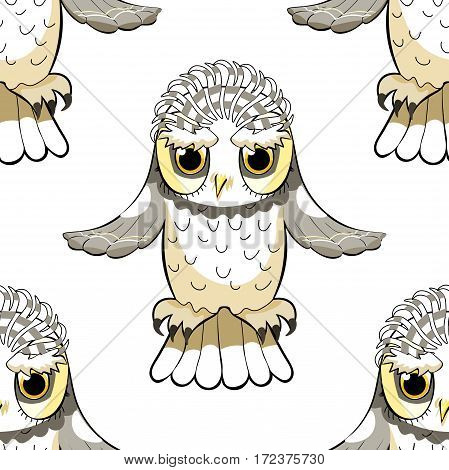 Seamless Pattern Howlet Bird With Raised Wings. Vector Illustration
