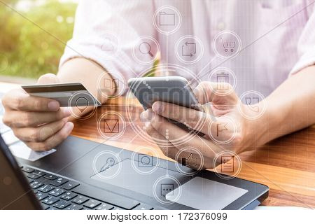 Business Money Concept : Man Hand Using Online Paying Banking
