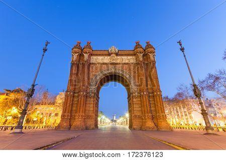 Arc De Triomf In Barcelona At Night