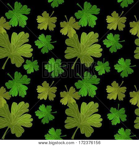 Seamless Pattern Of Branches With Leaves Gooseberry. Vector Illustration