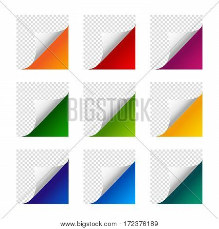 Collection of vector paper corners. Set of colourful paper sheets. White orange red violet yellow green blue dark blue turquoise light green paper curled paper.