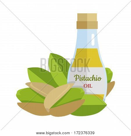 Pistachio oil and nuts vector. Flat design. Healthy food, diet and cosmetic products. Seasoning. Culinary ingredient, source of protein, vitamins, fatty acids. Isolated on white background.