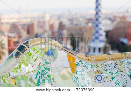 Barcelona, Spain - February 27: Detail In Park Guell On February 27, 2013 In Barcelona, Spain. This