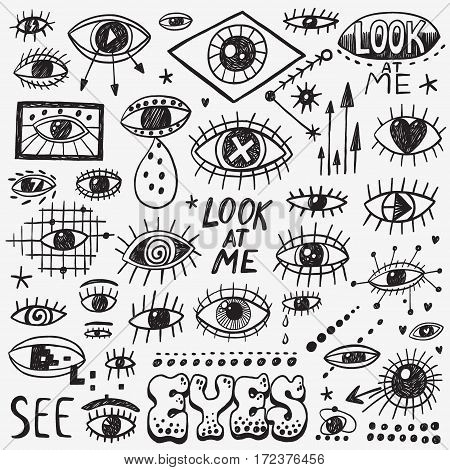 eyes icons in sketch style , design elements