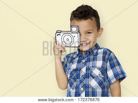Little boy holding camera illustration