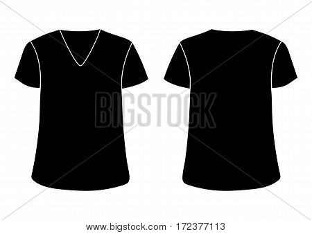 Vector male s V t-shirt template. Front back sides mock up. Black isolated on white background
