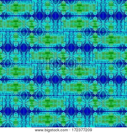 Abstract geometric seamless background. Regular ellipses pattern in light green and blue shades, ornate and extensive.