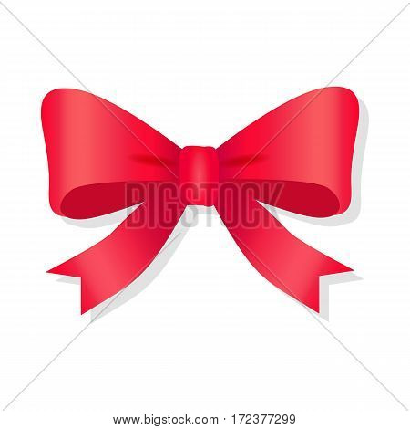 Red bow isolated on white. Pussy bright bowknot. Single gift knot of ribbon in flat style design. Overwhelming bow decorative element. Vector cartoon illustration of bow and ribbon. Classical bow