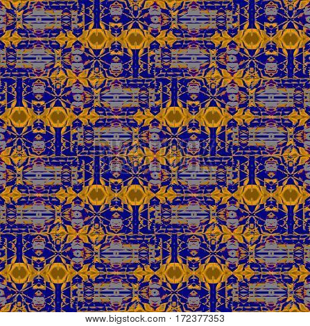 Abstract geometric seamless background. Regular intricate pattern dark blue and gray with elliptical elements in yellow and ocher horizontally.