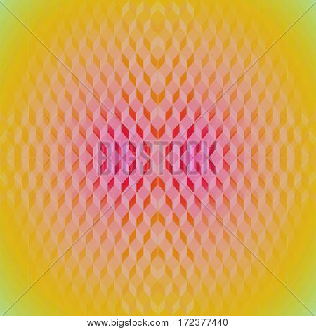 Abstract geometric seamless background dimensional. Regular diamond pattern in yellow, orange, pink and violet shades, centered and blurred.