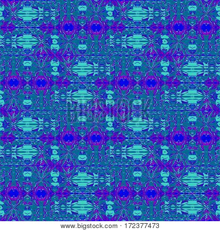 Abstract geometric seamless background. Regular intricate pattern turquoise, aquamarine, dark blue and purple, ornate and extensive.