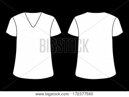 Vector male's and woman's V neckline t-shirt template. Front back sides mock up. White on black background