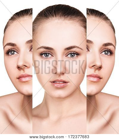 Collage of young woman face over white background. Spa concept.