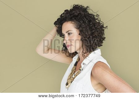 Caucasian Woman Casual Side View