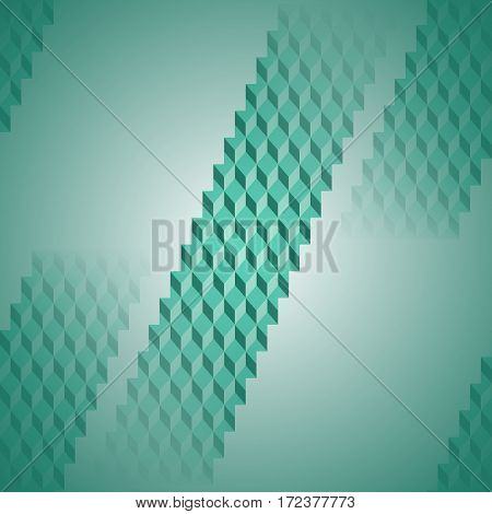 Abstract geometric seamless background blurred. Regular diamond pattern in pale green stripes diagonally.