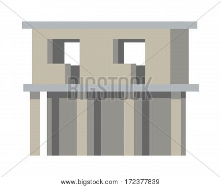 Unfinished building without doors and windows isolated on white. New two-storey urban housing. Four pillars on the first floor. Simple cartoon design. Architecture in flat design. Vector.