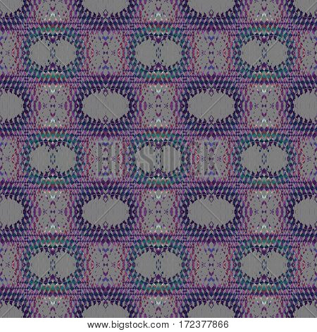 Abstract geometric seamless background. Regular ellipses and diamond pattern with violet, purple and turquoise elements on gray, ornate and extensive.