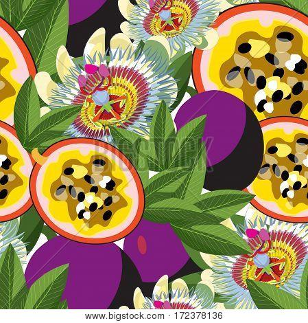 Seamless Pattern Passion Flower Blue Tropical Fruit Maracuya . Vector Illustration