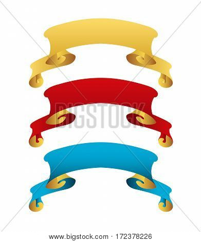 Set of vintage blue gold red ribbons. Vector retro tape collection. Glossy ribbon banners isolated on white background. Winner tapes. Labels for greeting card gift poster flyer design.